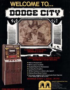 Merit Dodge City Arcade FLYER 1988 NOS Original Video Poker Game Artwork Sheet