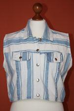Damen Bolero, ärmellose Jeansjacke Weste Laibchen Jeans Jacke L 38-40  weiß-blau a6fd5e510a