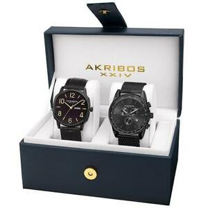 Akribos XXIV AK885BK Swiss Quartz Chronograph Tachymeter Day Date Mens Watch Set