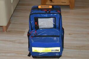 Rucksack aus Planenmaterial blau und Leuchtstreifen ohne Füllung / NEU