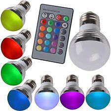 E27 3W RGB LED Change Multi-Color Changing Lighting Light Lights house + Remote