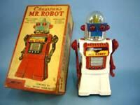 Kraxtan MR.ROBOT Battery-powered White Body 50's Vintage Height 27.5 cm Tinplate