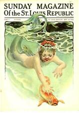 Little Mermaid with Goldfish  -   by Alice Beard  -  Cover Only  - 1910