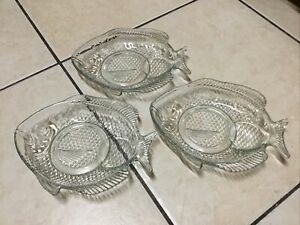 """CLEAR GLASS FISH SHAPED SERVING SNACK PLATES  3 Pieces, 8"""" Long"""