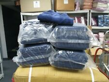 48 NEW NAVY BLUE  SALON SPA GYM TOWELS DOBBY BORDER RINGSPUN 16X27 3LBS PREMIUM