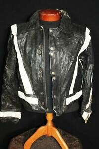 RARE VINTAGE RAFFINE 1970'S BLACK LEATHER CYCLE JACKET SIZE SMALL