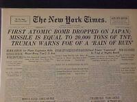 VINTAGE NEWSPAPER HEADLINE NY~WORLD WAR 2 ATOMIC BOMB DROPPED ON JAPAN WWII 1945