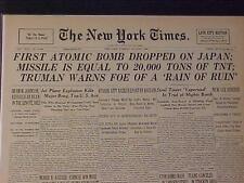VINTAGE NEWSPAPER HEADLINE ~WORLD WAR 2 FIRST ATOMIC BOMB DROPED ON JAPAN WWII~