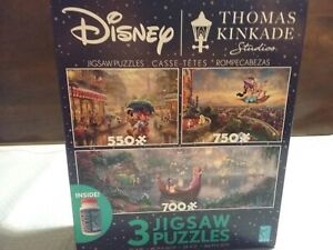 NEW 2020 Disney 3 Pack Thomas Kinkade Aladdin Mickey Minnie Jigsaw Puzzle w/glue