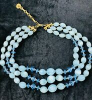 Vintage Lisner Blue Bead Lucite Faceted Glass Crystals Necklace Three Strands