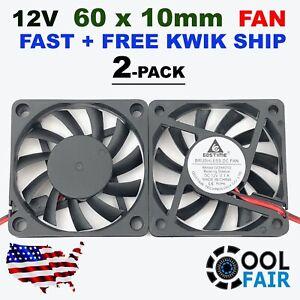 12V 60mm Cooling Fan 6010 PC DC Computer Case CPU 6cm 60x60x10mm 2-Pin 2 Pcs