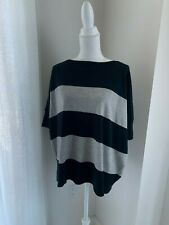 Saks 5th Avenue Black & Gray Stripe Cotton & Wool Over-Sized Sweater Top SZ XS