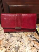 KATE LANDRY RED LEATHER WALLET WITH CHECKBOOK