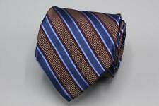 HICKEY FREEMAN Silk Tie. Brown Blue Burgundy Stripes.