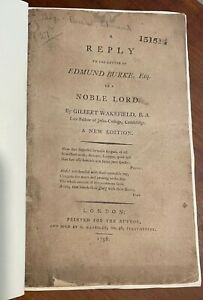 A Reply to the Letter of Edmund Burke by Gilbert Wakefield 1796 VG