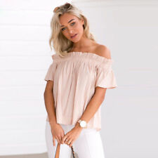 Boho Women Summer Off shoulder Tops Casual Loose Short Sleeve Tee shirt Blouse