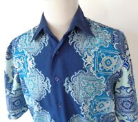 Royal Prestige Large Wild Short Sleeve Shirt Paisley Club Style Button Up Blues