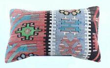 Kilim Pillow Cover 12x20 Handmade Oushak Rug Wool Boho Lumbar Sofa Cushion 1915