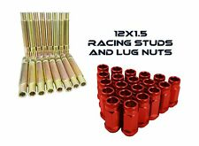 BMW STUD CONVERSION KIT [ 20 RACING STUDS AND 20 RED RACING LUG NUTS ] M12x1.5