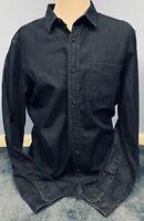BANANA REPUBLIC Size L Large Camden Fit Dark Blue Denim Long Sleeve Shirt