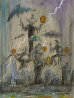 GHOSTLY HEADLESS HORSEMAN Sleepy Hollow Halloween Print Signed JOHN RANDALL YORK
