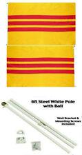 3x5 South Vietnam Vietnamese 2ply Flag White Pole Kit Gold Ball Top 3'x5'