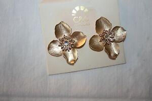 C&C California Stunning Flower Party Wear Earrings In Golden Color