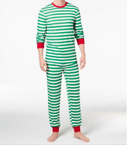 Family Pajamas Kids L 10-12 Christmas PJ Set 2 Piece Green Holiday Stripe Unisex