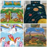 NEW Dinosaurs Planets Unicorns Reversible Kids Bedding Set Duvet Single Double