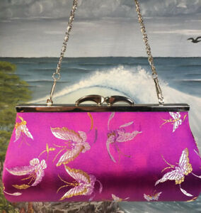 Asian Butterfly Pink Purple Kisslock Clutch Purse With Chain 8x4 Discolored