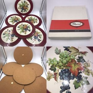 Vintage Pimpernel Set Of 6 Grape Cluster Cork Backed Placemats Boxed Round