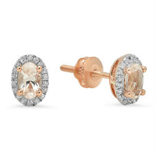 0.60 Ct 10k Rose Gold Morganite & White Diamond Ladies Halo Stud Earrings