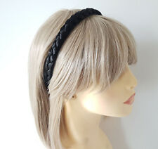 Gorgeous 1.5cm wide BLACK plaited faux hair headband - Aliceband
