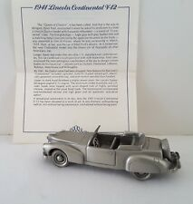 Vntg Danbury Mint 1941 Lincoln Continental Pewter Cars of World W/Certificate
