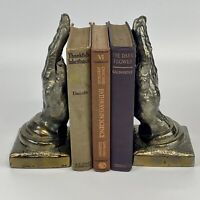 Vintage Pair Metal Brass Bronze Tone Decorative Praying Hands Bookends