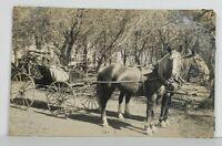 Rppc Man in Horse Drawn Carriage Russel Clay c1910 Iowa Real Photo Postcard O10