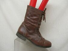 Steve Madden Troopa Brown Leather Side Zip Lace Up Combat Boots Womens Size 8 M