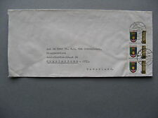 INDONESIA, cover to the Netherlands 1982, strip of 3 coat of arms Lampung