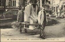 Bourbon L'Archambault Chaise a Porteurs c1915 Postcard