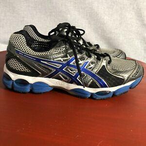 Asics Gel Nimbus 14 Mens Size 9.5 Running Shoes Gray Blue Athletic Train Sneaker