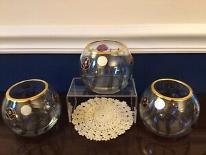 """Lot of 3 VTG Romanian Handcrafted Crystal 24K Gold Trim Rose Candle Holders 4"""""""