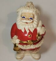 "Vintage Christmas Spaghetti Santa Ceramic Bank Excellent Condition 6.5"" AS IS**"