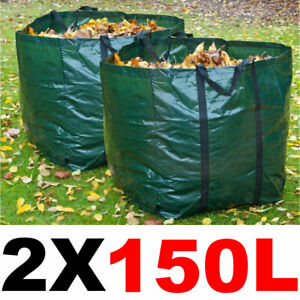 2 X 150L Large Garden Refuse Storage Bags Sacks for Waste Handles Building Sand