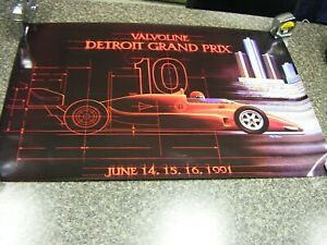 "1991 Valvoline Detroit Grand Prix Indy Car CART Race Poster 36"" x 24"""