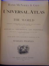 Book Universal World Atlas Maps Color Lithograph Rand McNally USA Stats Indexed