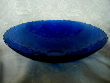 Beautiful & Unusual Very Large Cobalt Blue Glass Scalloped Serving Bowl - NEW