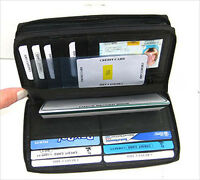 Black 2 Zipper Leather Credit Card Checkbook Organizer Lady Wallet Clutch New