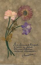 CARTE POSTALE FANTAISIE / LAMARTINE / COLLAGE FLEURS SECHEES / POEME