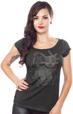 Sourpuss Raven Top Shirt Flapper Tattoo Rockabilly Punk Goth Tee Pinup Vintage S