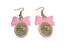 Elephant Earrings, Vintage Animal Illustration, Pastel Pink Cute Kitsch Kawaii